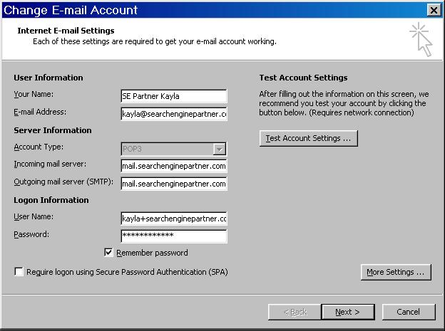 Setting Up Pop3 Smtp Email In Outlook 2007